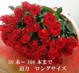バラ 花束 50本100本 還暦祝 60本 赤バラにも調整OKお祝・誕生日 歓送迎会 薔薇 ロングサイズ50cm プロポーズ プレゼント サプライズ 卒業 入学 歓送迎