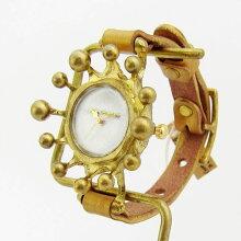 GothicLaboratoryミルククラウン腕時計ホワイト/アンティークかわいいレディース腕時計女性用ハンドメイド手作り腕時計牛革クラシック/