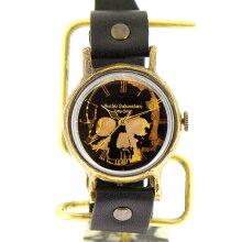 GothicLaboratoryスカルの腕時計ブラックL/骸骨髑髏どくろロックメンズレディースハンドメイド手作り腕時計ヴィンテージビンテージ牛革クラシックゴシック/