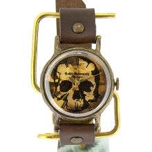 GothicLaboratoryスカルの腕時計ブラウンL/骸骨髑髏どくろロックメンズレディースハンドメイド手作り腕時計ヴィンテージビンテージ牛革クラシックゴシック/