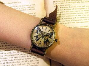 GothicLaboratoryアゲハ蝶の腕時計M/レディース腕時計女性用ハンドメイド手作り腕時計バタフライヴィンテージビンテージ牛革クラシック/