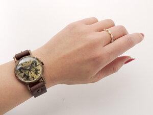GothicLaboratoryアゲハ蝶の腕時計Mレディースかわいいアンティーク革ベルトレザーハンドメイド手作り腕時計ゴールドお誕生日プレゼント【楽ギフ_包装選択】【楽ギフ_送料無料】【マラソン201405_送料無料】02P06May14
