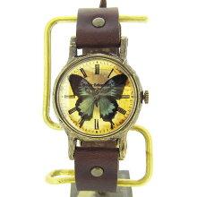GothicLaboratory青い蝶の腕時計/レディース腕時計女性用ハンドメイド手作り腕時計バタフライヴィンテージビンテージ牛革クラシック/