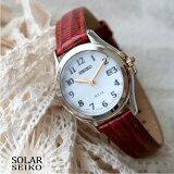 [人気の海外モデル]セイコーSEIKOSUT252SOLAR腕時計レディースソーラー革ベルトブラック
