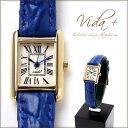 VIDA+ Mini Rectangular 腕時計 レディース 革ベルト レクタンギュラー ブルー
