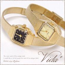 Vida+レディース腕時計〈スクエア〉(ヴィーダプラス)かわいいアンティークゴールド華奢上品ブレスレット人気チェーンベルトクリスマスお誕生日プレゼント【送料無料】