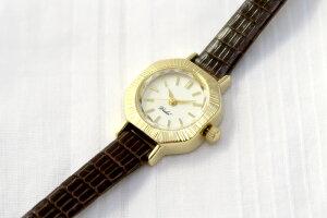 Vida+レディース腕時計〈アーモンドケース〉(ヴィーダプラス)革ベルトかわいいアンティークゴールド華奢上品人気お誕生日プレゼント【送料無料】