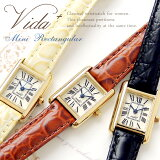 Vida+MiniRectangular腕時計レディース革ベルトかわいいおしゃれアンティーク調ヴィンテージ調ブラック/ブラウン/ゴールドJ83904J83905