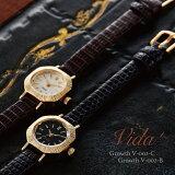 VIDA+Curious腕時計レディース革ベルトリザードゴールド/ブラック/ブラウンV-004GB-BK