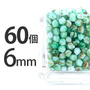 60個 チェコビーズ 6mm 緑 グリーン / ナツメ ドロップ しずく 雫 スクエア ソロバン ビーズ パーツ ガラスビーズ アクセサリー 手芸 材料 ネックレス ピアス イヤリング ハンドメイド グリーンマーブル