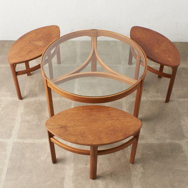 IZ47280C★Nathan ネストテーブル イギリス ネイサン コーヒーテーブル 北欧 ラウンドテーブル ガラステーブル チーク センターテーブル