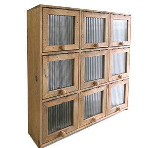 [Free shipping] Rusty 9 door cabinet (FG-19) (Display goods Retro Antique Classic Showa Storage Box BOX Country Natural Simple Antique Antique Storage Interior Gardening accessory case solid natural wood wood old wood)