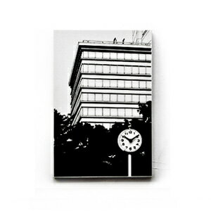■ Canvasworks-canvas to work ~ ■ Park look of the building (landscape painting wall clocks wall clock novelax Noto-fusai and tassels are ノトフサイ black and white monotone simple designer handmade campus art)