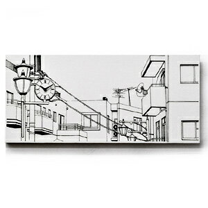 ■ Canvasworks-canvas work ~ ■ town station (landscape painting wall clocks wall clock novelax Noto-fusai and tassels not ノトフサイ black and white monotone simple designer handmade campus art)