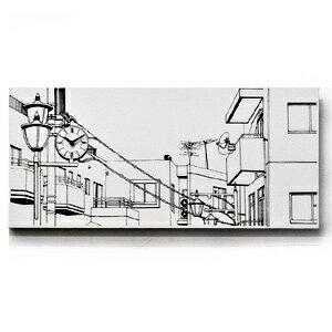 【送料無料】■Canvasworks〜機能するキャンバス〜■「駅前の街並み」(風景画 ウォールクロック 壁掛け時計 novelax 能登夫妻 のとふさい ノトフサイ モノクロ モノトーン シンプル デザイナー ハンドメイド キャンパス アート ギフト 男性)