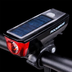 ライト自転車ヘッドライトソーラーパネルホーン350ルーメン防水USB充電