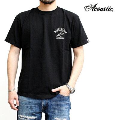 アコースティックAcousticプリントTシャツ半袖厚手ワンポイントネイティブプリントピスネームデザインおしゃれメンズブランドシンプルカジュアルアメカジルードバイカーインディアンヴィンテージ2021年新作ホワイトブラック白黒水色(66-ac21204)