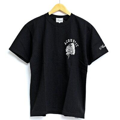 アコースティックAcousticTシャツ半袖プリントTシャツ厚手バックプリントインディアンデザインおしゃれメンズ男性ブランドカジュアルアメカジルードバイカーネイティブアメリカンヴィンテージ2021年春夏新作ブラックネイビーホワイト(66-ac21205)
