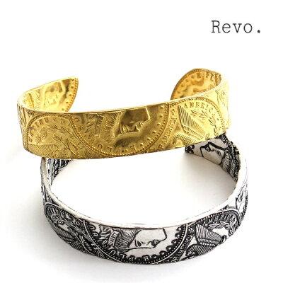 【メール便OK】レヴォRevo.レボバングルブレスレット腕輪真鍮ブラスアクセサリーコインモルガンダラーモチーフデザインアンティーク調メンズレディースユニセックスブランドカジュアルアメカジヴィンテージゴールドシルバー金色銀色(26-thg162)