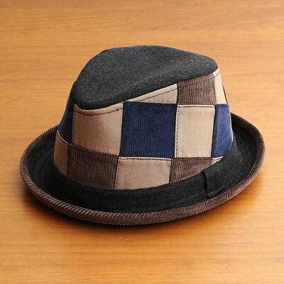 中折れハット帽子メンズレディースベーシックエンチBASIQUENTIリバーアップRIVER-UPポークパイパッチワークハットコーデュロイウールツイルカジュアルアメカジトラッドルードヴィンテージブラック黒(09-bczn70100)