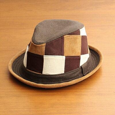 中折れハット帽子メンズレディースベーシックエンチBASIQUENTIリバーアップRIVER-UPポークパイパッチワークハットコーデュロイウールツイルカジュアルアメカジトラッドルードヴィンテージブラウン茶色(09-bczn70100)