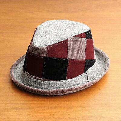 中折れハット帽子メンズレディースベーシックエンチBASIQUENTIリバーアップRIVER-UPポークパイパッチワークハットコーデュロイウールツイルカジュアルアメカジトラッドルードヴィンテージグレー灰色(09-bczn70100)