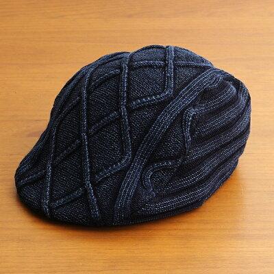 【1つまでメール便OK】ハンチング帽子メンズレディースブランドベーシックエンチBASIQUENTIリバーアップRIVER-UPコットンニットデニムカジュアルアメカジアウトドアルードヴィンテージおしゃれインディゴ藍色(09-bcre70131)