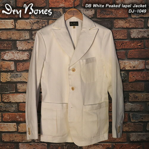 DRY BONESドライボーンズ◆DB White Peaked lapel Jacket◆DJ-1049
