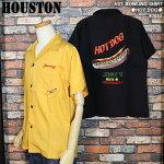 HOUSTON/ヒューストン/ホットドッグ柄刺繍ボウリングシャツ