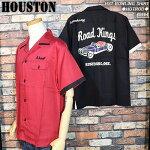 HOUSTON/ヒューストン/ホットロッド柄刺繍ボウリングシャツ