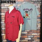 HOUSTON/ヒューストン/野良猫柄刺繍ボウリングシャツ