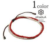 2連ワックスコード ホワイトハートアンクレット メンズ / レディース / カレンシルバー / ホワイトハーツ / phaduA (パ・ドゥア)