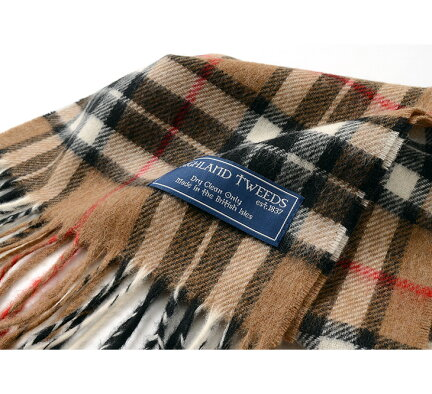 Highland Tweeds Tartan Scarf: Camel Thompson
