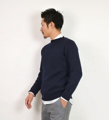 William Lockie Merino Wool Rib Crew Neck GME23008-6004716: Navy