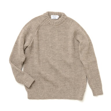 Kerry Woollen Mills Fisherman Rib Crew Neck Sweater KW018-005: Oatmeal