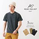 【期間限定ポイント10倍】REMI RELIEF(レミレリーフ) 16/-天竺ポケTクルー(スケーター刺繍) / Tシャツ / 度詰め天竺 / 半袖 / メンズ / 日本製
