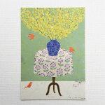 YokoMatsumotoマツモトヨーコポストカード3羽の小鳥黄色い花