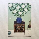 YokoMatsumotoマツモトヨーコポストカード白い花3羽の白い小鳥