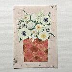YokoMatsumotoマツモトヨーコポストカード赤い花柄のフラワーポット白い花