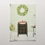 YokoMatsumotoマツモトヨーコポストカードチェストミモザのリースリンゴ