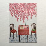 YokoMatsumotoマツモトヨーコポストカード「光の午後」赤い花チェックのテーブルクロステーブルチェアハンバーガー王冠