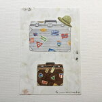 YokoMatsumotoマツモトヨーコポストカード「パスポート」旅行トラベル革のトランクスーツケース帽子ステッカー