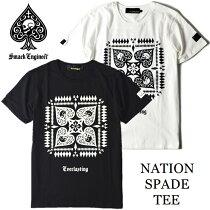 SMACKENGINEER(スマックエンジニア)【NATIONSPADETEE】Tシャツ半袖黒白ブラックホワイトスカルドクロスペードバックプリントメンズレディースROCKPUNKロックパンクバンドフェスギフトラッピング無料【ポイント2倍】