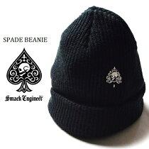 SMACKENGINEER/スマックエンジニア「SPADEBEANIE」ニット帽ニットビーニー帽子黒ブラック刺繍スペードスカルドクロメンズレディースROCKPUNKロックパンクバンドギフトラッピング無料ステージ衣装Rogia