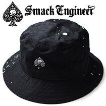 SMACKENGINEER/スマックエンジニア「SPLASHBUCKETHAT」バケットハット帽子撥水スプラッシュ加工黒ブラック刺繍スペードスカルドクロメンズレディースROCKPUNKロックパンクバンドギフトラッピング無料ステージ衣装Rogia