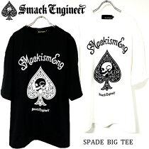 SMACKENGINEER/スマックエンジニア「SPADEBIGTEE」新作ビッグTシャツ半袖五分ワンピース黒白ブラックホワイトスカルドクロスペードバックプリント大きいサイズメンズレディースROCKPUNKロックパンクバンドギフトラッピング無料ステージ衣装Rogia