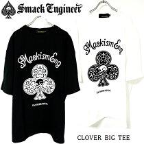 SMACKENGINEER/スマックエンジニア「CLOVERBIGTEE」ビッグTシャツ半袖五分袖ワンピース黒白ブラックホワイトスカルドクロクローバーバックプリント大きいメンズレディースROCKPUNKロックパンクバンドギフトラッピング無料ステージ衣装Rogia