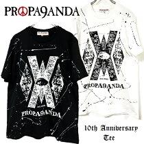 """PROPA9ANDA/プロパガンダ「PROPA9ANDA10thAnniversaryTee(""""X""""tacyTee)」10周年記念Tシャツ半袖黒白ブラックホワイトスカルドクロメンズレディース大きいサイズロックパンクROCKPUNKバンドギフトラッピング無料ステージ衣装Rogia"""