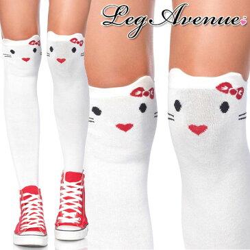 Leg Avenue(レッグアベニュー)キティフェイスニーハイソックス 6921 靴下 ホワイト ネコ 顔 猫 原宿系 レディース 大きいサイズ コスプレ コスチューム グッバイキティ セレブ サイハイソックス オーバーニーソックス A453【メール便OK】