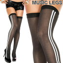 MusicLegs(ミュージックレッグス)サイドライン入りサイハイストッキング/タイツ ML4758 黒 ブラック 白ライン ニーハイ オーバーニーソックス ダンス衣装 レディース A875